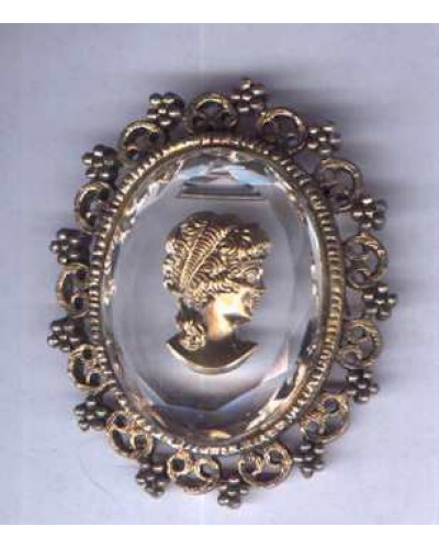 Reverse Carved Crystal Cameo Pin