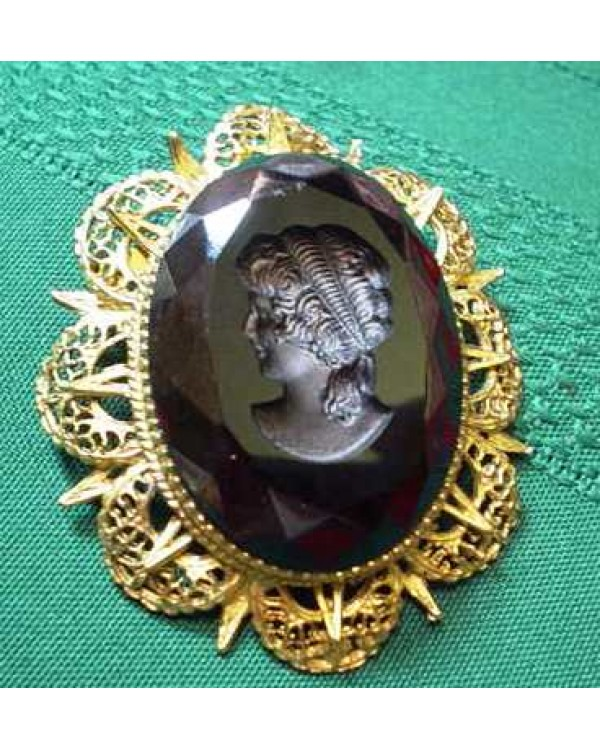 Black Glass Cameo Pin
