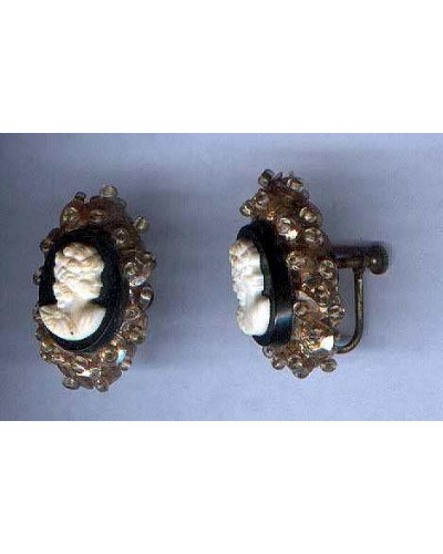 Hand Made Cameo Earrings with Sequins