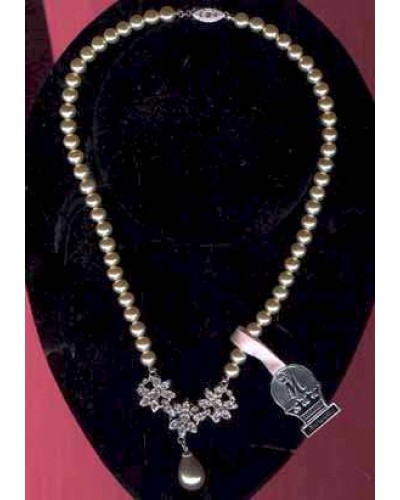 Marvella Faux Pearl & Awesome Rhinestone Center Drop!