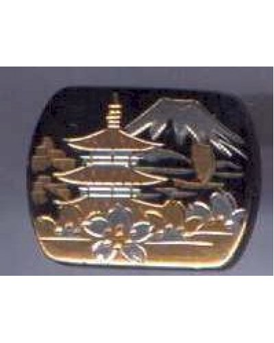 "Sterling 7/8""  Damascene Cufflinks - Pagoda"