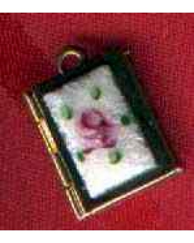 Rose Enamel Theda Signed Locket