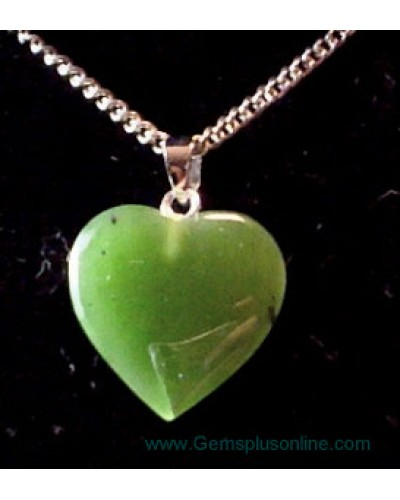 Jade Heart on Sterling Chain