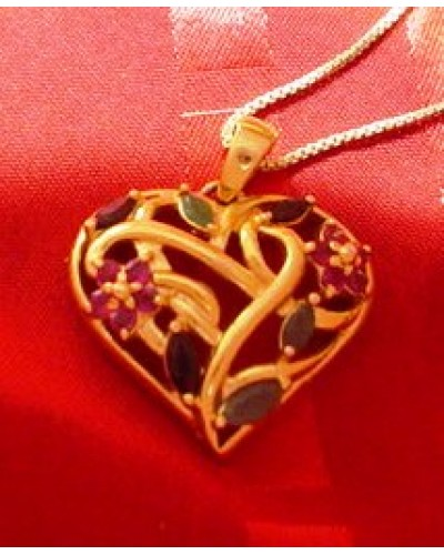 "Gold Washed Sterling 1"" Heart with gemstones"