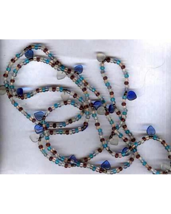 Cobalt Glass Hearts Bead Necklace