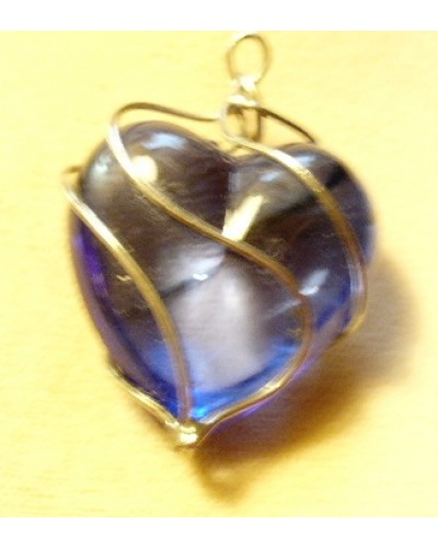 Wire Wrapped Blue Lucite Heart