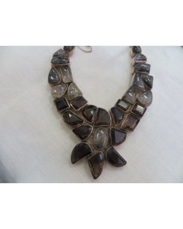 Mexican Silver Vintage Necklace with Opaline like Stones