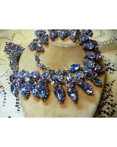 Austrian Crystal Necklace Blue & Lavander - Amazing!