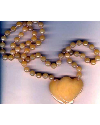 Vintage Yellow Jade Double Heart Necklace