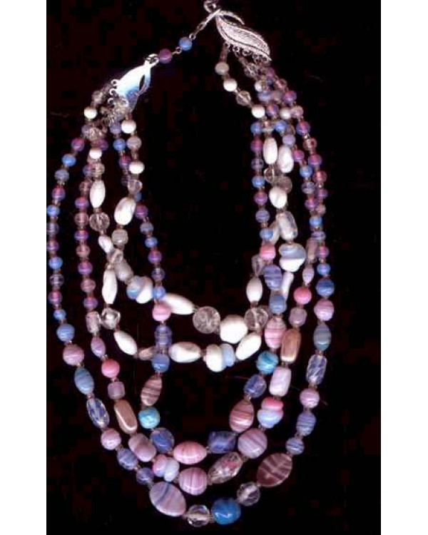 Art Glass 5 strand Necklace -Soft Colors