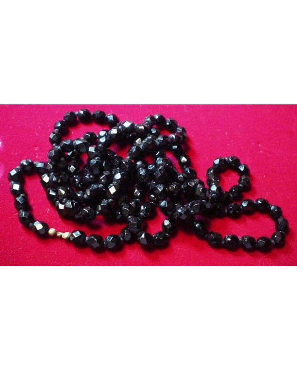 "52"" of Jet Black Beads, Individually knotted"