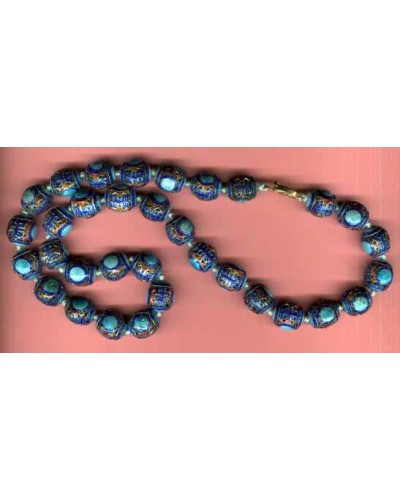 Blue Cloisonné Bead Necklace