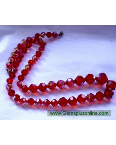 RED Crystal Glass Bead Necklace