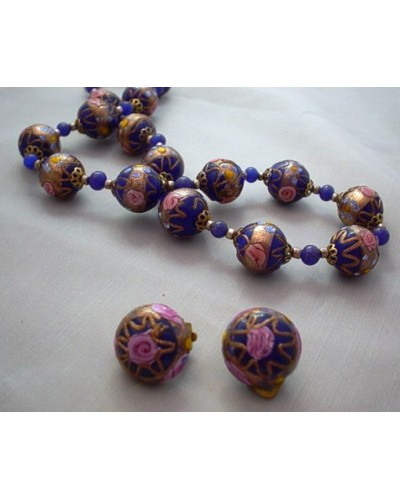 Roses on Cobalt  Beads w/ Matching Earrings