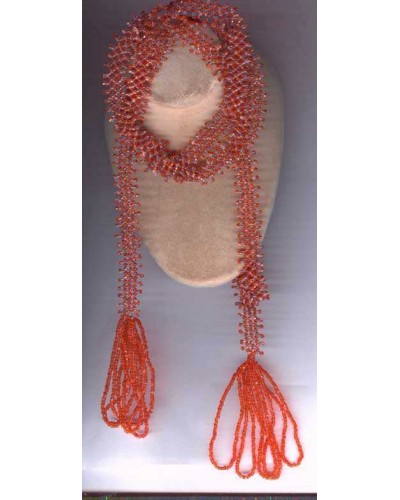 Orange Glass Bead Flapper Necklace