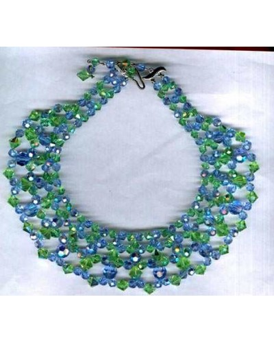 Light Blue & Green Crystal Bib Collar