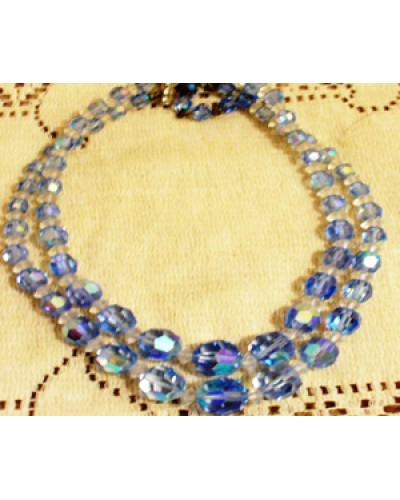 Blue Aurora Borealis Crystal Necklace