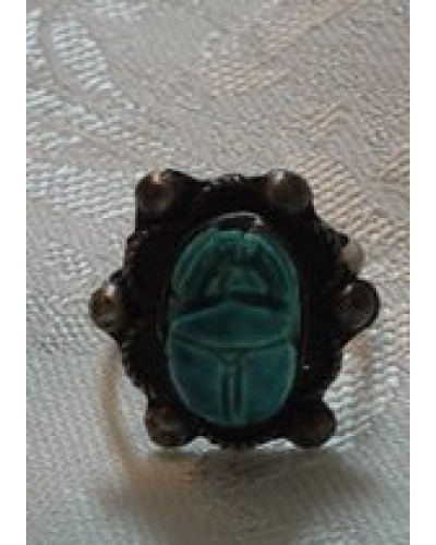 "Scarab Set in 1"" long Sterling Ring"