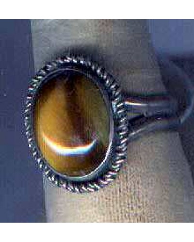 "Tigers Eye in Sterling - sz 9 - 3/4"" -"