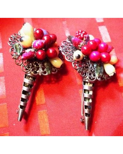 Pair of Composition Fruit Pins