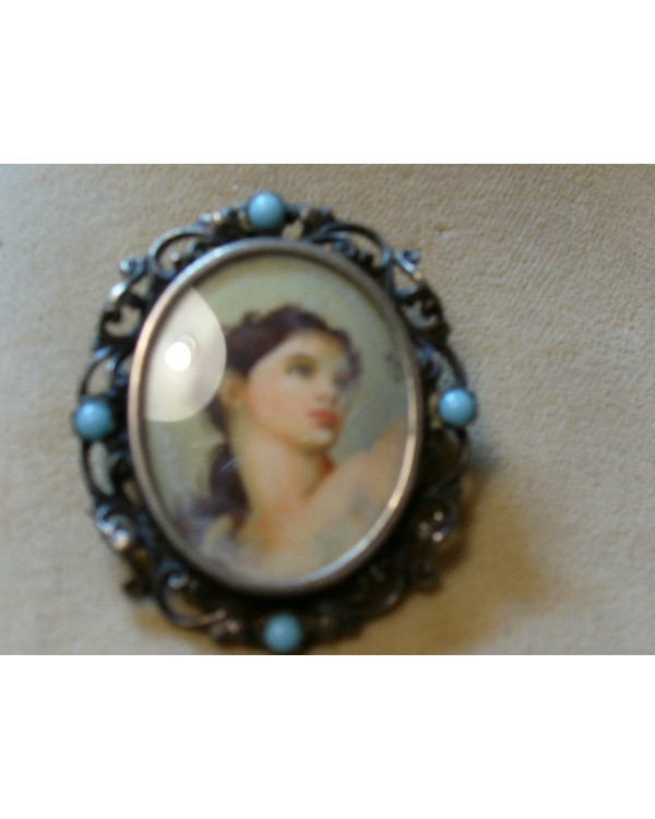 Vintage Hand painted Portrait in Sterling Frame