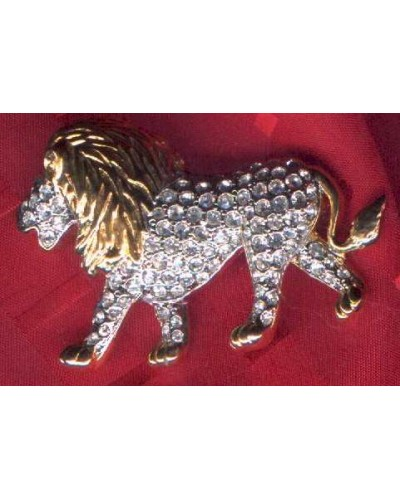 Rhinestone Lion Pin