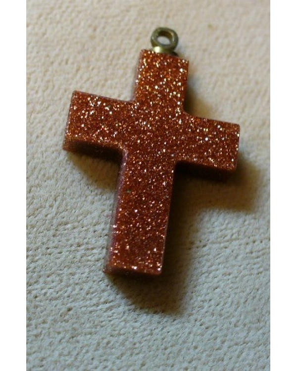 "1"" Gold Stone Carved cross"
