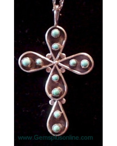 Sterling & Turquoise Cross