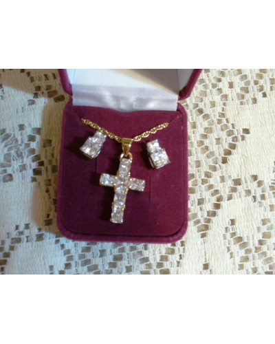 "Crystal Cross and  3/8"" Pierced Earring Set -"