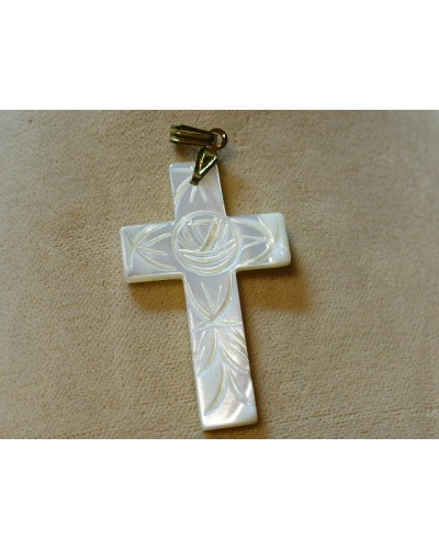 "Carved Mother of Pearl 2"" cross"
