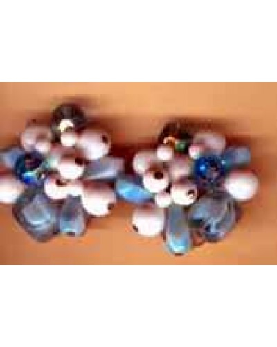 TRIFARI sky blue and white bead