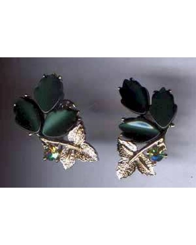 Dark Green Plastic Leaves on gold tone