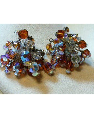 HOBE Signed Crystal Earrings