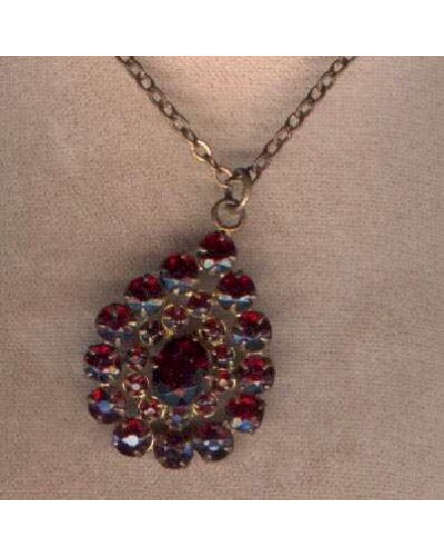 Czech Garnet In Brass Necklace