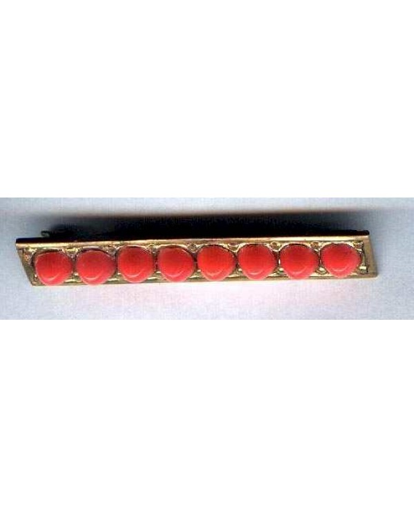 Brass Bar Pin with cabochons of a coral glass