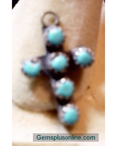 Turquoise & Sterling Cross