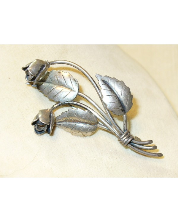 Sterling Silver Flower Pin marked 830