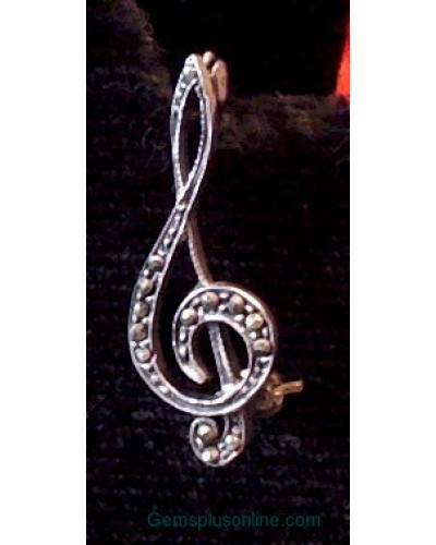 Musicial Sterling G Cleft Pin