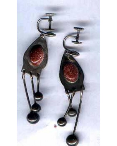 "Goldstone on Sterling 2 1/4"" Earrings"