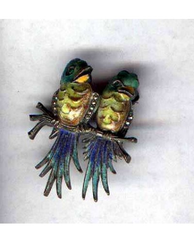 Enamel On Sterling Birds Pin Germany