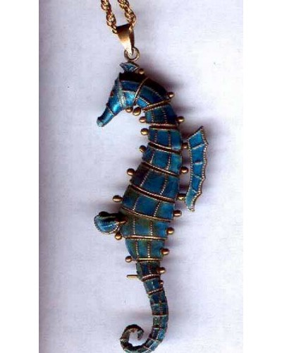 Enamel on Silver Sea Horse