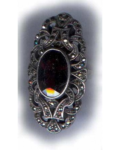 Art Deco Giant Garnet Sterling Marcasite Ring